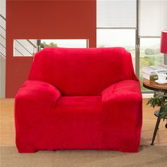 Red Elastic Sofa Cover Stretch Soft Flannel Thick Warm Universal Sofa  Protector All Inclusive For Single Double Three Four Seat