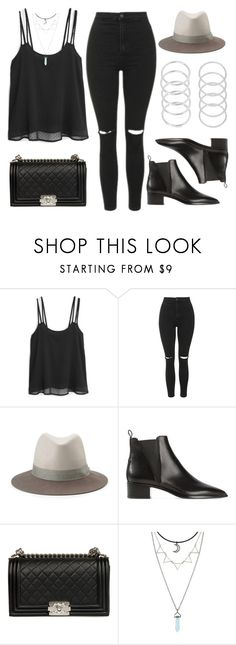 """""""Style #10898"""" by vany-alvarado ❤ liked on Polyvore featuring MANGO, Topshop, rag & bone, Acne Studios and Chanel"""