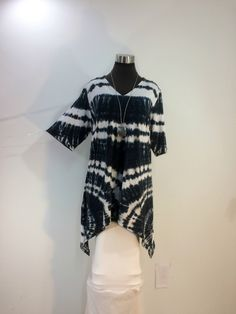 Plus size 2X tie dye tunic top with V-neck and elbow length sleeves in bamboo blend fabric. by qualicumclothworks on Etsy