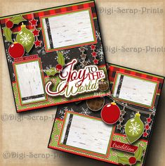 JOY TO THE WORLD CHRISTMAS ~ 2 premade scrapbook pages layout printed DIGISCRAP #DigiScrapPrints