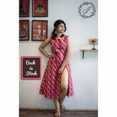 The variegated pink and gold The variegated pink and yellow side slit button dress is lovingly crafted to make you look like a magnificent… Printed Kurti Designs, Simple Kurti Designs, Churidar Designs, Kurta Designs Women, Dress Neck Designs, Designs For Dresses, Blouse Designs, Kalamkari Dresses, Frock For Women