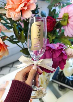 Bridesmaid Gift Idea! Gold Bridesmaid Champagne Glass by LetsTieTheKnot on Etsy - Gift your bridal party something they'll adore-- these swoon worthy champagne flutes are a lovely keepsake to add to your bridesmaids' gift baskets! Perfect for a sparkling celebration!