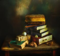 still life with books. - LOOK ON THE DARK BACKGROUND!