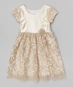 c268725eb9 Look at this Gold Soutache Cap-Sleeve - Toddler Toddler Girl Dresses
