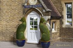 Topiary Cats, entrancing visitors at the visitors' entrance.