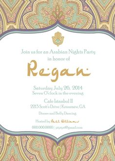 Arabian Nights Party Invite Birhtday Engagement by PTWatersDesigns, $12.00