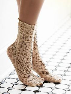 Netted Ankle Sock | Net ankle socks with a textured pattern and frilly trim.  *By Free People