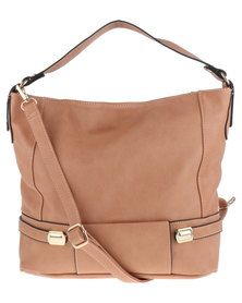 G Couture Double Buckle Hobo Bag Natural