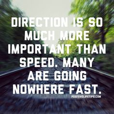 "Direction is so much more important than speed. Many people are going nowhere fast."" (Zig Ziglar)"