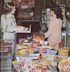 Go Retro!: Paper...or Paper? A Look Back at Vintage Grocery Store Excursions. Wow. Her shopping list had just about every consumer food brand of the 70s covered. There's not a single fruit or vegetable to be found. And she's writing out a check!