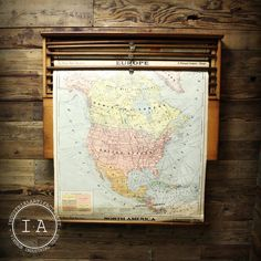 Vintage Schoolhouse Pull Down Map Cabinet A. Flanagan Company Chicago 8 Maps  Going to hang television on wall behind doors/maps. Fold up maps when we want to watch television.