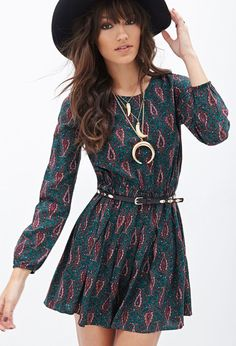 FOREVER 21 Paisley Print Fit Flare Dress Is on sale now for -25 % !