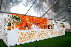 BrownHot Events partnered with Mille Fiori Floral Design to create an 8- by 20-foot paper flower backdrop for the V.I.P....New and unique bar ideas for your wedding or special event. Posted by Premiere Party Central, Tents and Event Rentals in Austin, Texas (TX).    http://www.PremierePartyCentral.com