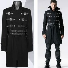 #mensfashion Men Black Double Breasted Belted MilitaryTrench Coat