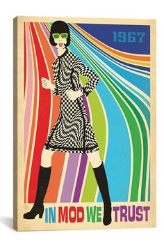 Anderson Design Group Premium Thick-Wrap Canvas Wall Art Print entitled In Mod We Trust - Retro Fashion Poster Mod Fashion, 1960s Fashion, Fashion East, Sporty Fashion, Fashion Women, Latest Fashion, Vintage Ads, Vintage Posters, Vintage Gifts