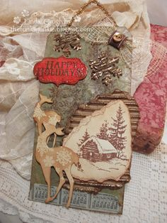 I love the mixed media feel of Linda Coughlin's tag.  It also has a rustic log cabin feel.  The Funkie Junkie: Challenge: 12 Tags of Christmas - Funkie Junkie Style - Week #7