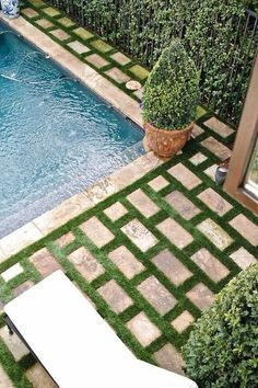 summer poolside - flagstone & Grass