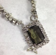 Gray Rhinestone Necklace Sarah Coventry Re purposed by ravished, $44.00