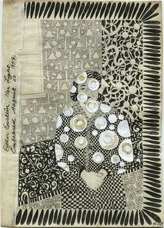 esther epstein by roz leibowitz, via Flickr  pencil and #collage on vintage paper #art