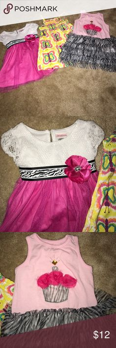 3 size 2T dresses Bundle of 3 size 2T dresses, no stains and coming from a smoke free home!!! Perfect for summer or spring!! Dresses