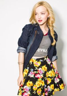 Fishtailbraided hairstyle jeans grey black yellow pink flower skirt make up