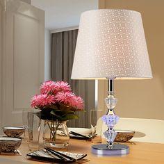 78.59$  Buy now - http://alil5e.worldwells.pw/go.php?t=32691191421 - Modern Crystal Table Lamp PVC Shade AC 220V LED Desk Light Abajur Para Quarto Bedside Lamp Lamparas De Mesa Tafellamp Luminaire 78.59$