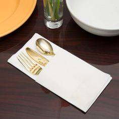 Visions Gold Heavy Weight Plastic Cutlery Set with White Linen-Feel Napkin - 50 / Case