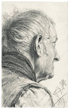Adolph von Menzel, Old Man with Head turned away on ArtStack #adolph-von-menzel #art