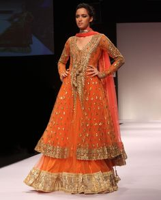 Persimmon Orange Lengha and Anarkali Jacket  by Preeti S. Kapoor