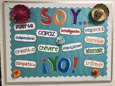 Spanish bulletin board idea, classroom decoration With adjectives in Spanish. ¡Soy yo!