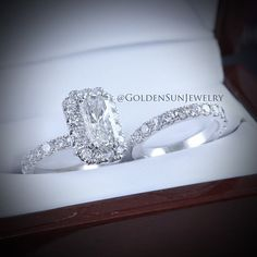GOLDEN SUN JEWELRY: An elegant diamond wedding set. Featuring a unique cushion cut center stone with surrounding halo and accenting diamond band. @goldensunjewelry #goldensunjewelry #wedding #weddingring #engagement #engagementring #ring #theknot #precious #stunning #diamond #diamondrings #flawless #fashion #fashionista #designer #detroit #gia #jewelry #jeweler #luxury #lavish #couture #bridal #bride #bachelorette #brilliant #beautiful #halo
