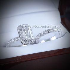 GOLDEN SUN JEWELRY: An elegant diamond wedding set. Featuring a unique cushion cut center stone with surrounding halo and accenting diamond band. @goldensunjewelry #goldensunjewelry #wedding #weddingring #engagement #engagementring #ring #theknot #precious #stunning #diamond #diamondrings #flawless #fashion #fashionista #designer #detroit #gia #jewelry #jeweler #luxury #lavish #couture #bridal #bride #bachelorette #brilliant #beautiful #halo