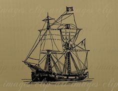 Pirate Ship Clip Art, Pirate Graphic, Royalty Free, Commercial Use Vintage Image, Design Element, Digital Stamp