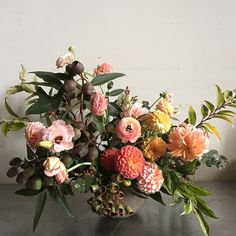 by Foret Design Studio  citrus toned, fall arrangements