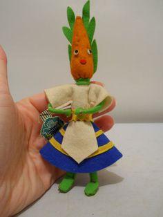 1930s Forsum Italian Felt Carrot Doll, Interesting Piece, Excellent Condition!