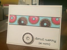 Card made using Donut Worry stamp set by  Lawn fawn.  Copic coloring doughnuts donuts food