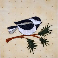 Chickadee Appliqued Quilt Block by zizzybob on Etsy, $8.50