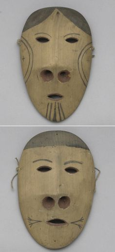 A pair of Eskimo masks  Depicting a woman and a man with seal-like characteristics, each with wide drilled nostrils, oval eyes and mouth, markings about the cheeks and mouth area, in red and black pigments.  length 8 1/4 and 8 1/2in