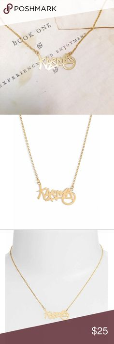 """Karma necklace by Covet Karma necklace by Covet. NWT. Gold  ionic plated stainless steel. Laser cut. 16"""" length with 3"""" extender. 1/2"""" wide x 1 1/8"""" pendant. Lobster clasp closure. Covet Jewelry Necklaces"""