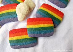Rainbow Cookies Slice and Bake - Crazy for Crust Rainbow Roll, Taste The Rainbow, Strawberry Recipes, Cooking With Kids, No Bake Cookies, Kid Friendly Meals, Macaroons, Food Coloring, Cookie Recipes