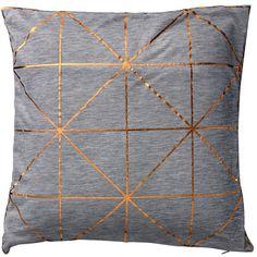 Bloomingville Diagonal Print Cushion - 40x40cm - Bronze ($67) ❤ liked on Polyvore featuring home, home decor, throw pillows, pillows, grey, metallic throw pillows, grey throw pillows, bloomingville, gray accent pillows and gray home decor