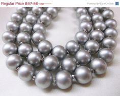 Vintage Metallic Grey Glass Pearl Triple Strand by MemawsTopDrawer, $33.75
