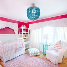 Gorgeous girl's nursery! LOVE that turquoise beaded chandelier!