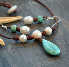 Leather+and+Pearls+Necklace+with+Turquoise+by+SeamistStudio,+$118.00
