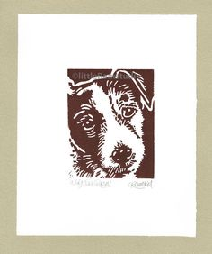 Wiry Jack Russell Dog - Linocut Original hand-pulled Relief Print by littleRamstudio at Etsy