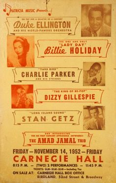 poster for a six act line-up. Music Pics, Old Music, Music Images, Billie Holiday, Jazz Quotes, Festival Jazz, All About Jazz, Jazz Poster, Free Jazz