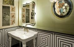 America's best restrooms:  #8. 2012 finalist: Gitane Restaurant, San Francisco.  Decorated by an interior designer, the restroom at the Gitane Restaurant in San Francisco's Union Square features bold, geometric black-and-white tiles. For balance, it has framed floral prints, a Victorian-style chandelier, vintage fixtures, charming mirrors and a variety of other touches that lend both a nostalgic and romantic feel in a restaurant decorated in an upscale Bohemian style.