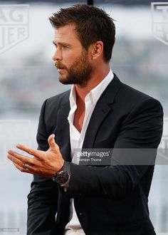 Chris Hemsworth speaks to the media at the Australian launch of Heuer 01 at The Royal Botanic Gardens on February 4, 2016 in Sydney, Australia.