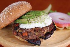 Farmer's Market Burger-  Seasonal vegetable burger, marinated Portobello Mushrooms, avocado and goat cheese