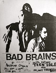 Bad Brains and Teen Idles flyer from DC